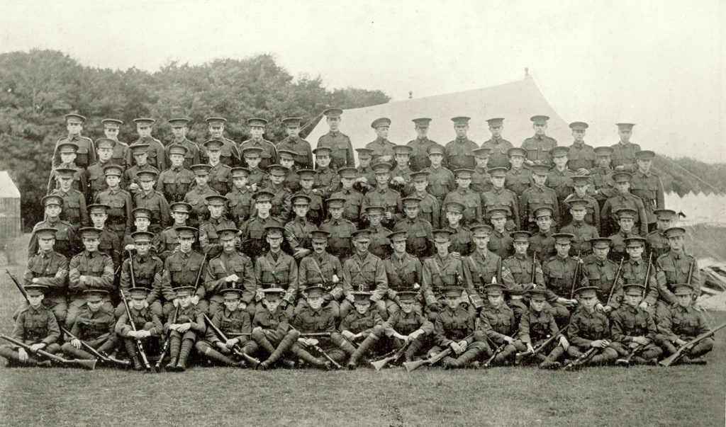 Cranleigh School OTC pictured at Tidworth Camp on August 3, 1914, the day before war broke out