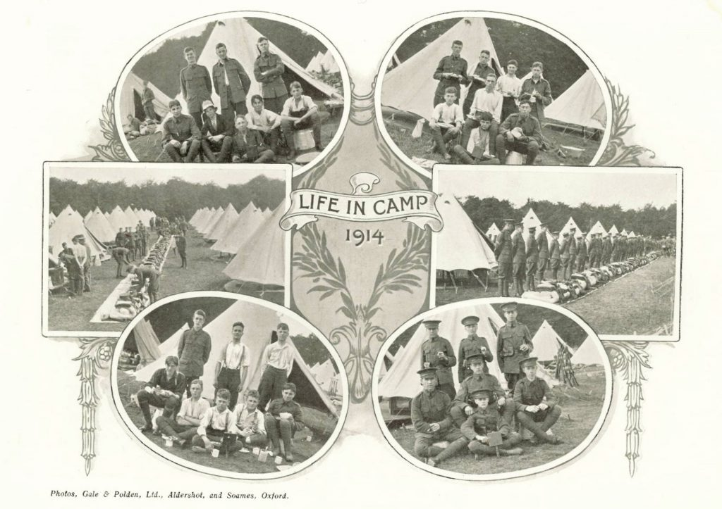 Cranleigh School OTC at Tidworth Camp in August, 1914