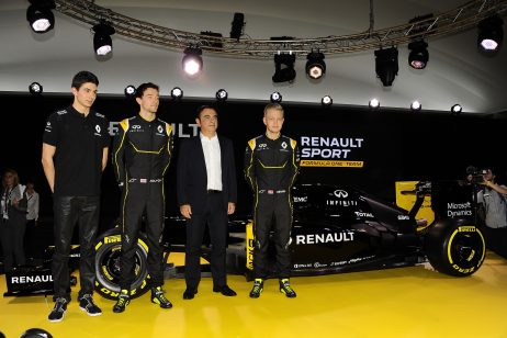 (L to R): Esteban Ocon, Jolyon Palmer, Carlos Ghosn (Chairman of Renault)  and Kevin Magnussen at the Renault F1 launch at Guyancourt, France, February 3, 2016