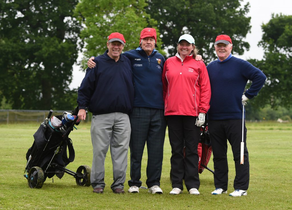 The winning team of David Willis, Tim Hill, Sarah Greenwood and Peter Wylie-Harris at the OC Invitational Golf Day 2016