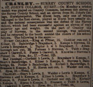 Newspaper report on Cranleigh's first school match