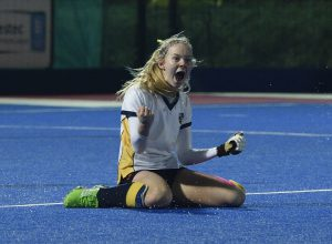 Charlotte Calnan celebrates a vital goal at the national finals in 2016