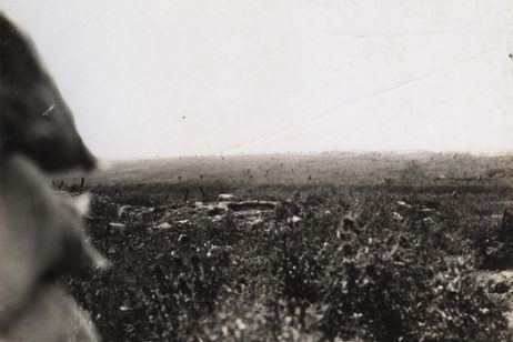 A unique photograph from the second line trench of troops advancing from the forward trenches on the first day of the Battle of the Somme, 1st July 1916. It was taken by John Stanley Purvis, a teacher at Cranleigh (1913-1938)