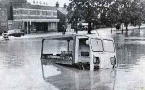 George Puttock's milk float during the 1968 Cranleigh floods