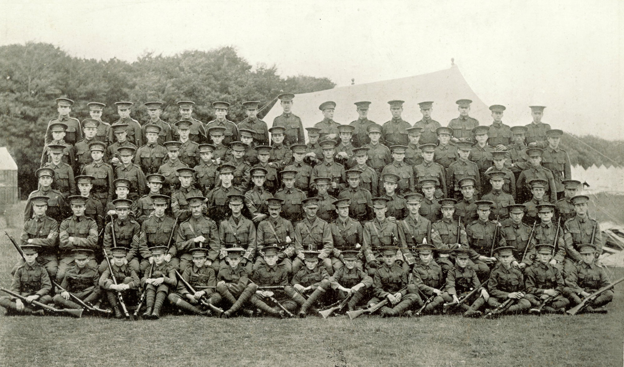 Cranleigh School OTC pictured at Tidmworth Camp on August 3, 1914, the day before war broke out